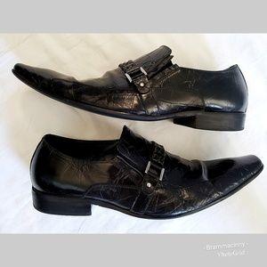 Aldo Black Leather Slip-on Buckle Loafer Shoes